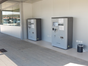 Car parking machines located next to the car rental offices