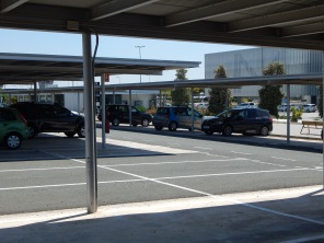 Car park is directly over the road from the airport terminal